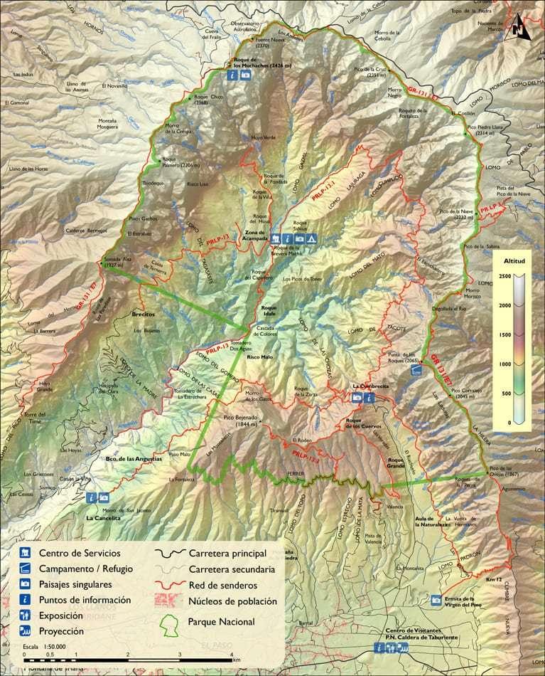 Caldera de Taburiente, mapa