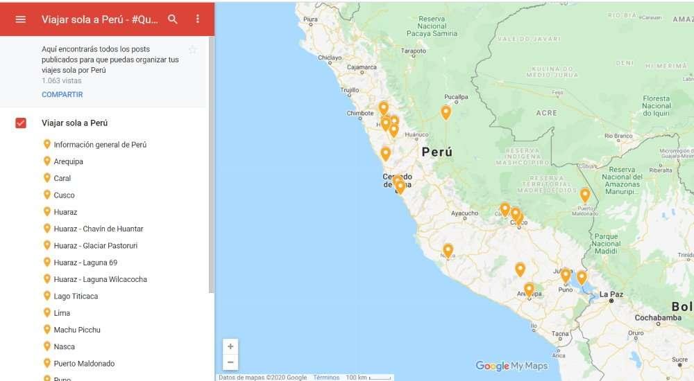 Viajar sola a Perú, mapa destinos
