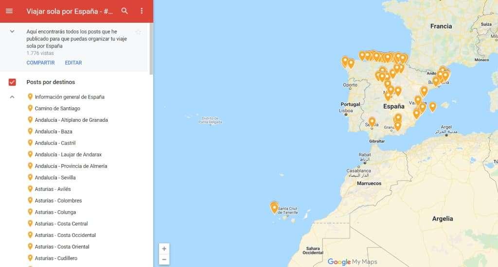 Viajar sola a España, mapa destinos