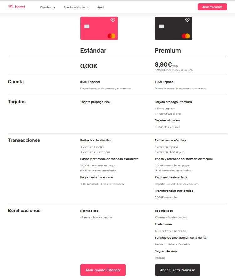 Bnext comparacion standard y premium