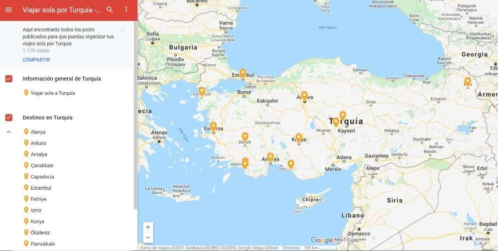 Viajar sola a Turquía, mapa destinos