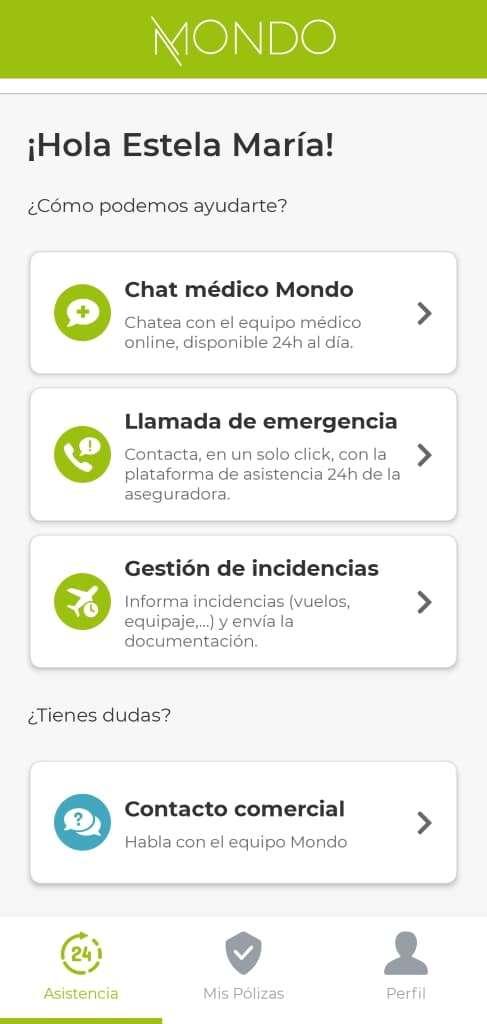 Mejor seguro de viaje, app Mondo