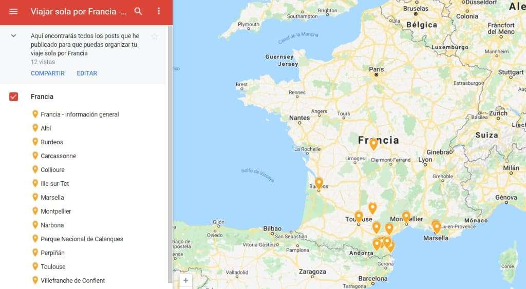 mapa destinos Francia quieroviajarsola