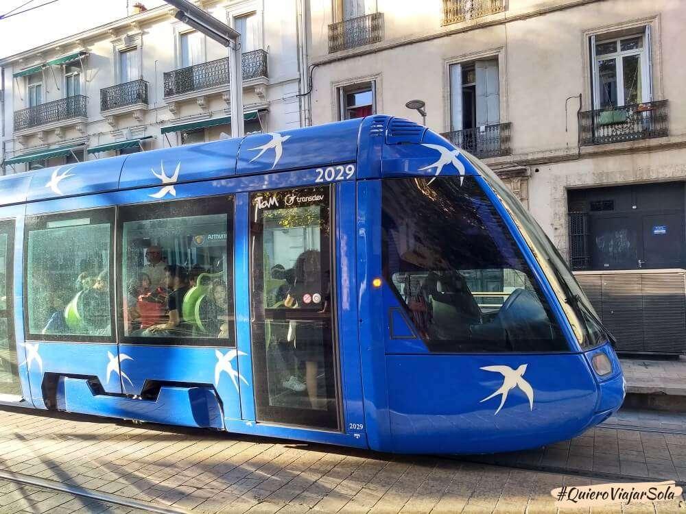 Viajar sola a Montpellier, tranvía