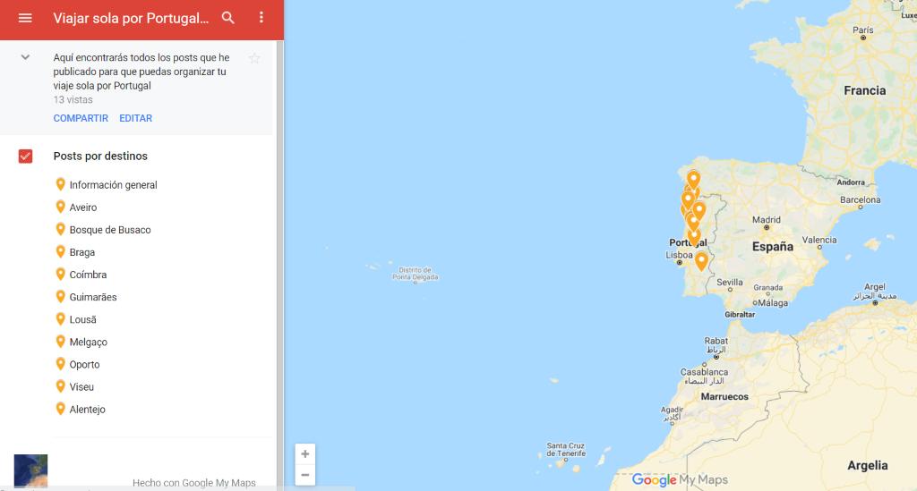 Viajar sola a Portugal, mapa destinos