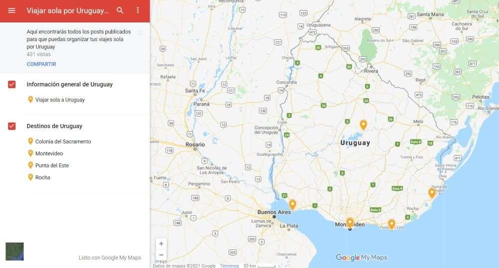 Viajar sola a Uruguay, mapa destinos