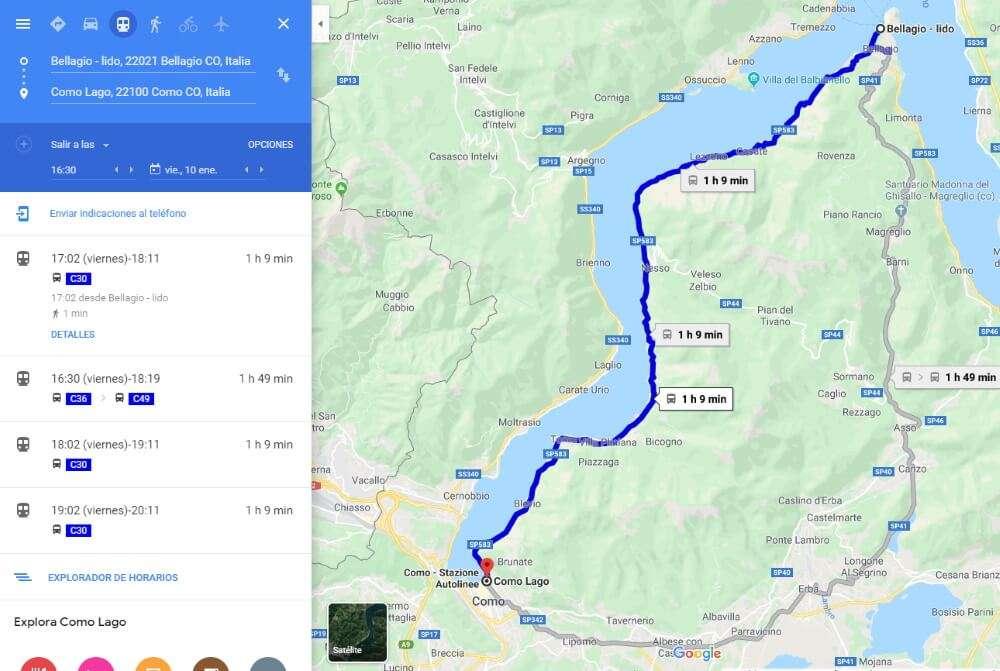 Cómo ir a Bellagio, autobús