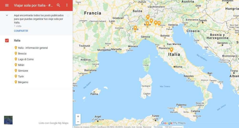 Viajar sola a Italia, mapa destinos