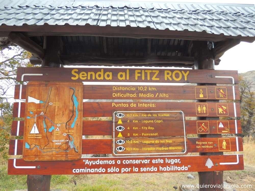Trekking al Fitz Roy El Chaltén, perfil sendero