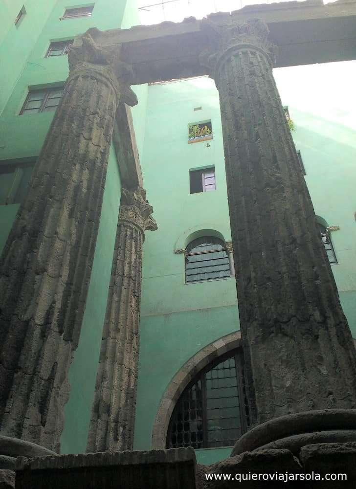 Qué ver en el Barrio Gótico, columnas romanas