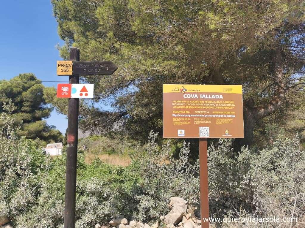 Cómo visitar la Cova Tallada, inicio sendero